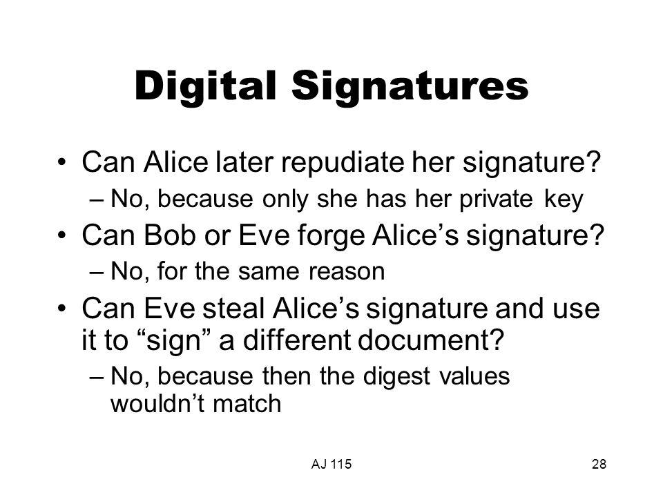 AJ 11528 Digital Signatures Can Alice later repudiate her signature.