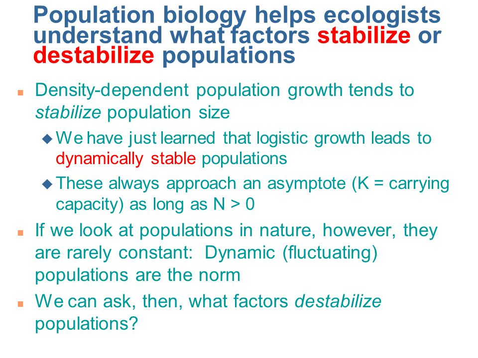 Population biology helps ecologists understand what factors stabilize or destabilize populations n Density-dependent population growth tends to stabilize population size u We have just learned that logistic growth leads to dynamically stable populations u These always approach an asymptote (K = carrying capacity) as long as N > 0 n If we look at populations in nature, however, they are rarely constant: Dynamic (fluctuating) populations are the norm n We can ask, then, what factors destabilize populations