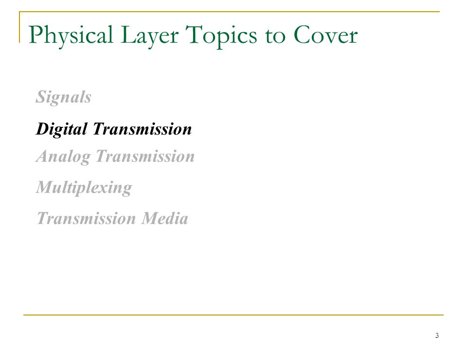 3 Physical Layer Topics to Cover Signals Digital Transmission Analog Transmission Multiplexing Transmission Media