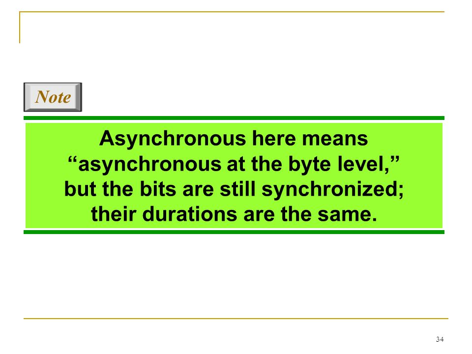 "34 Asynchronous here means ""asynchronous at the byte level,"" but the bits are still synchronized; their durations are the same. Note"
