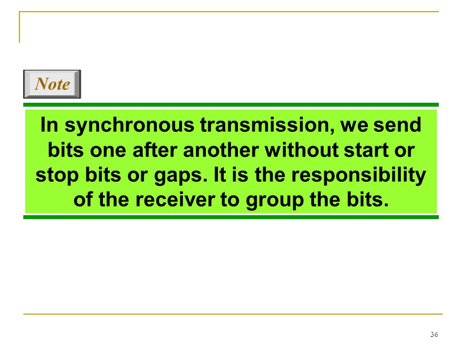 36 In synchronous transmission, we send bits one after another without start or stop bits or gaps. It is the responsibility of the receiver to group t