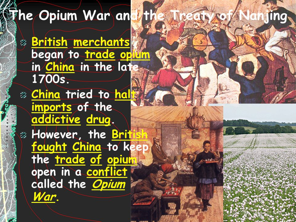 The Opium War and the Treaty of Nanjing British merchants began to trade opium in China in the late 1700s. China tried to halt imports of the addictiv