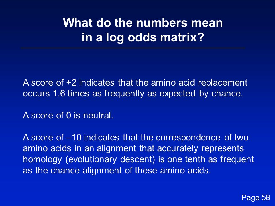 What do the numbers mean in a log odds matrix.