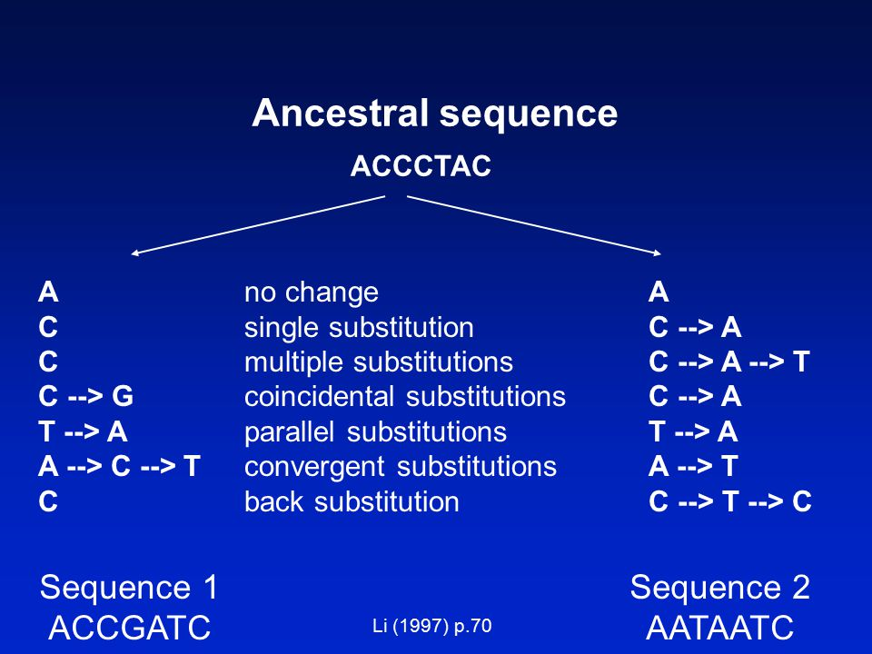 Ancestral sequence Sequence 1 ACCGATC Sequence 2 AATAATC A no changeA C single substitutionC --> A C multiple substitutionsC --> A --> T C --> G coincidental substitutionsC --> A T --> A parallel substitutionsT --> A A --> C --> T convergent substitutionsA --> T C back substitutionC --> T --> C ACCCTAC Li (1997) p.70