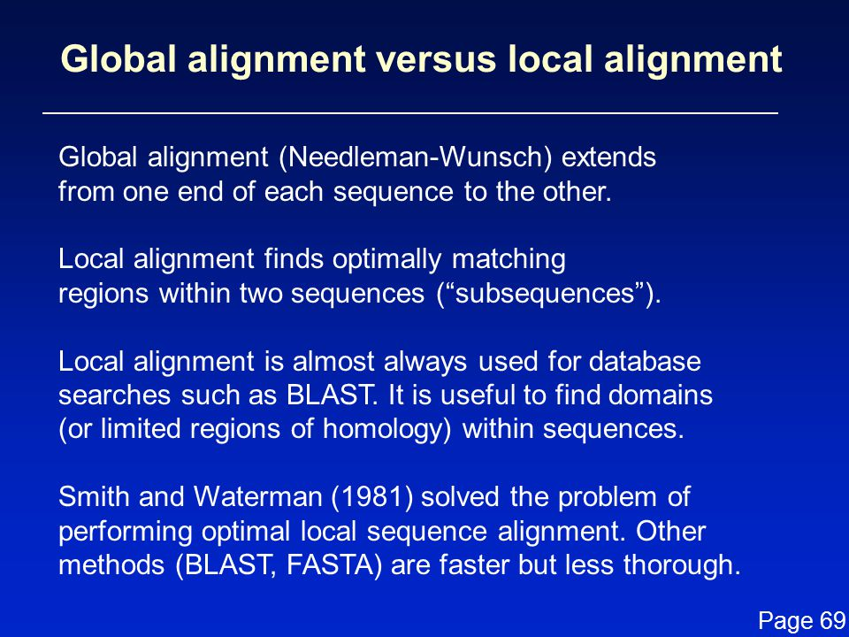 Global alignment (Needleman-Wunsch) extends from one end of each sequence to the other.