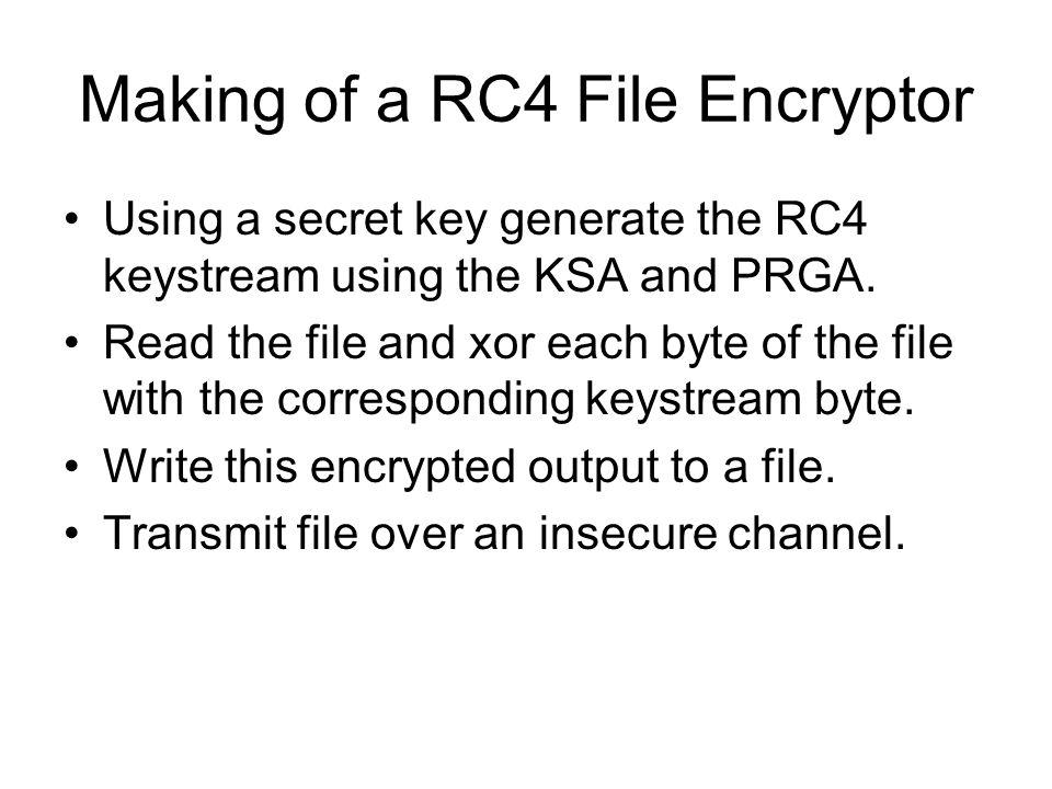 Making of a RC4 File Encryptor Using a secret key generate the RC4 keystream using the KSA and PRGA.