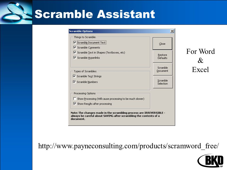 Scramble Assistant http://www.payneconsulting.com/products/scramword_free/ For Word & Excel