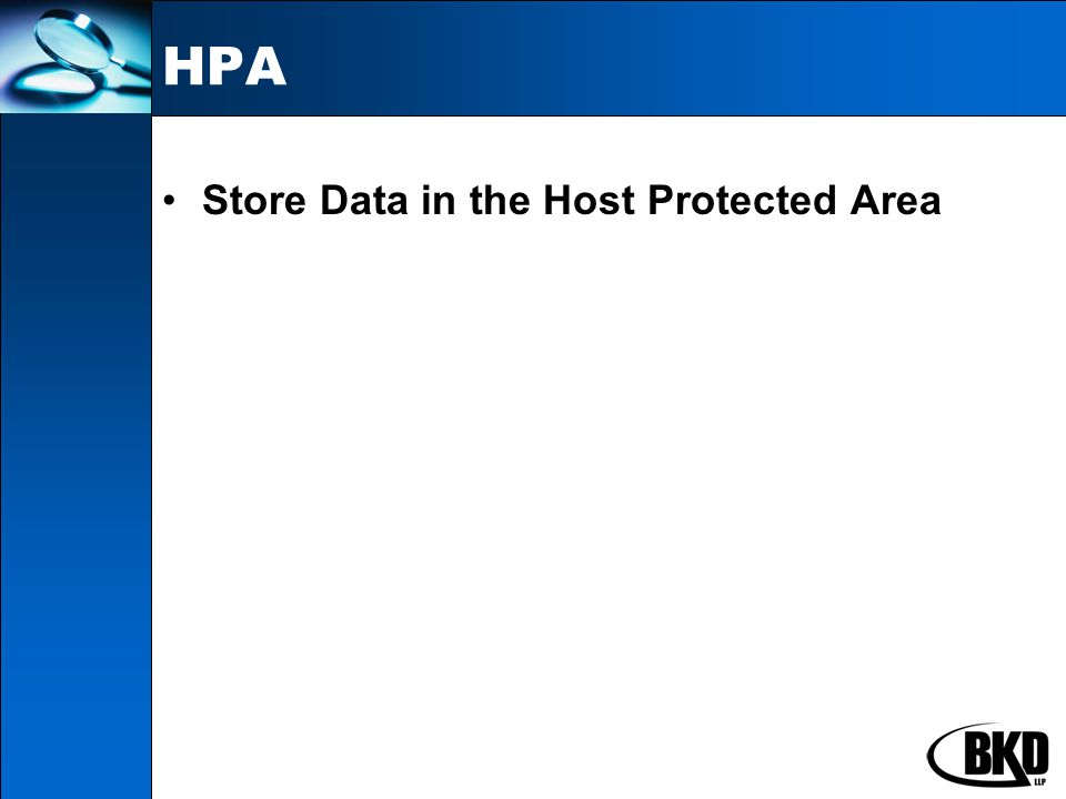 HPA Store Data in the Host Protected Area
