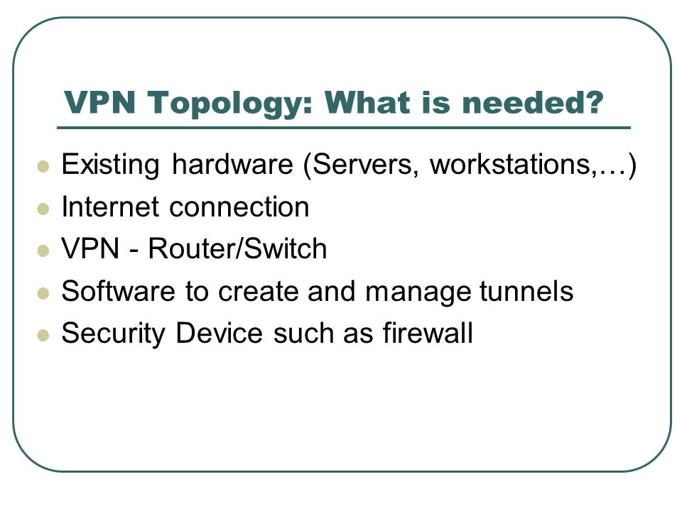 VPN Topology: What is needed.