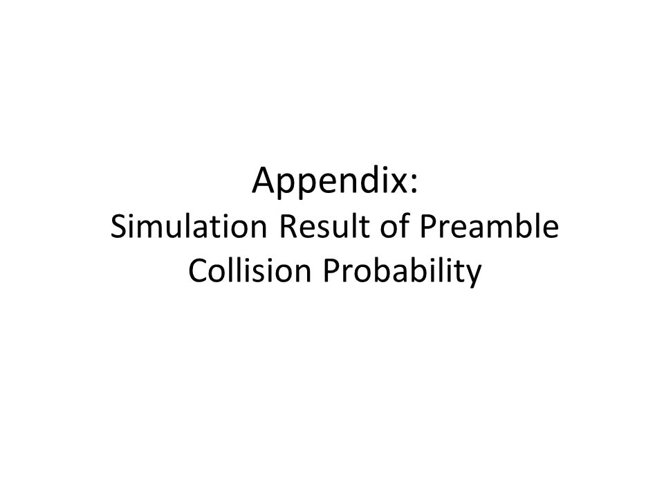 Appendix: Simulation Result of Preamble Collision Probability