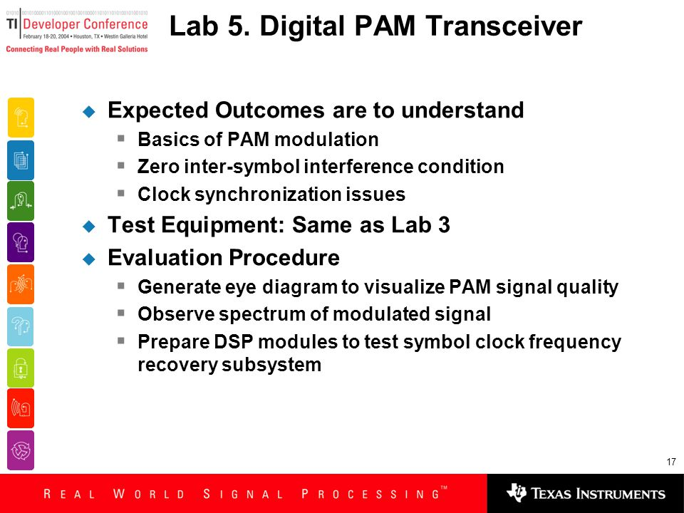 17 Lab 5. Digital PAM Transceiver  Expected Outcomes are to understand  Basics of PAM modulation  Zero inter-symbol interference condition  Clock