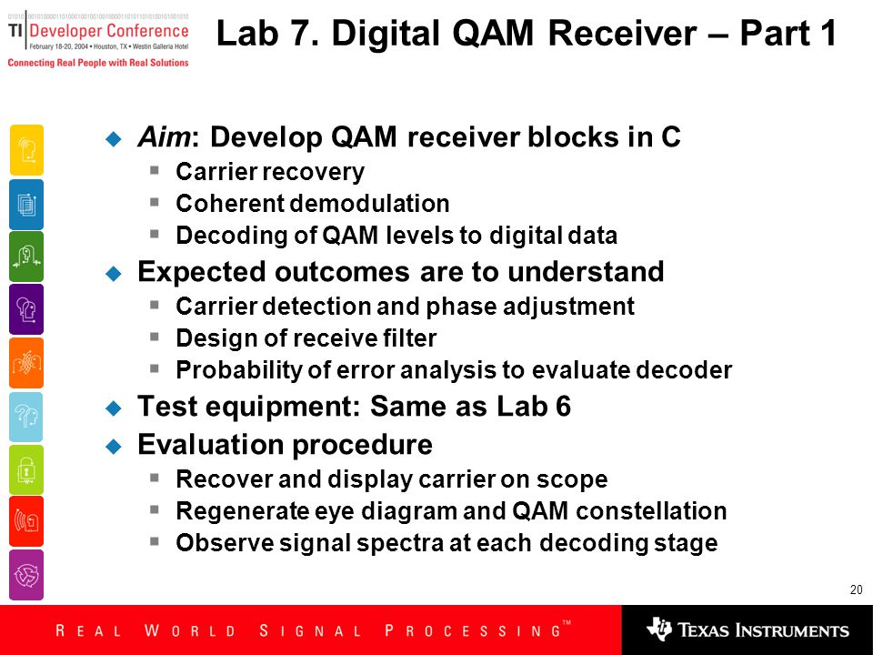 20 Lab 7. Digital QAM Receiver – Part 1  Aim: Develop QAM receiver blocks in C  Carrier recovery  Coherent demodulation  Decoding of QAM levels to