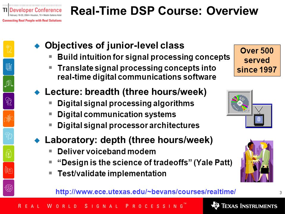3 Real-Time DSP Course: Overview  Objectives of junior-level class  Build intuition for signal processing concepts  Translate signal processing con