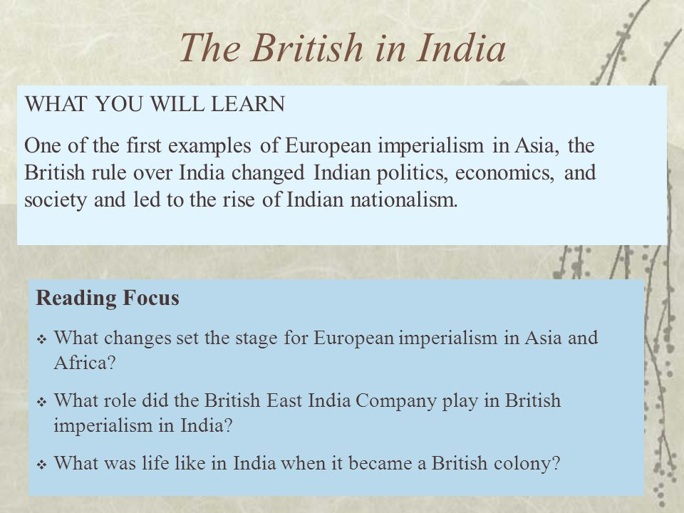 Reading Focus  What changes set the stage for European imperialism in Asia and Africa.