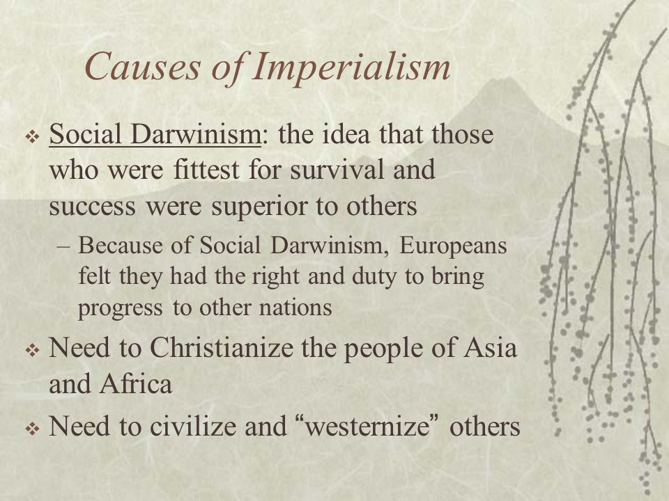 Causes of Imperialism  Social Darwinism: the idea that those who were fittest for survival and success were superior to others –Because of Social Darwinism, Europeans felt they had the right and duty to bring progress to other nations  Need to Christianize the people of Asia and Africa  Need to civilize and westernize others
