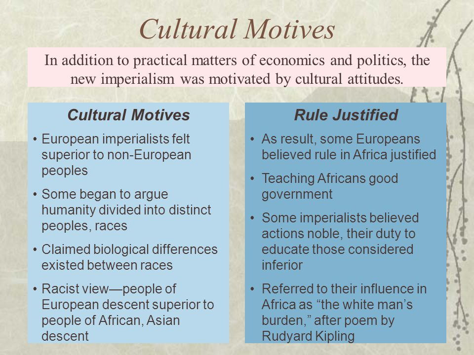 In addition to practical matters of economics and politics, the new imperialism was motivated by cultural attitudes.