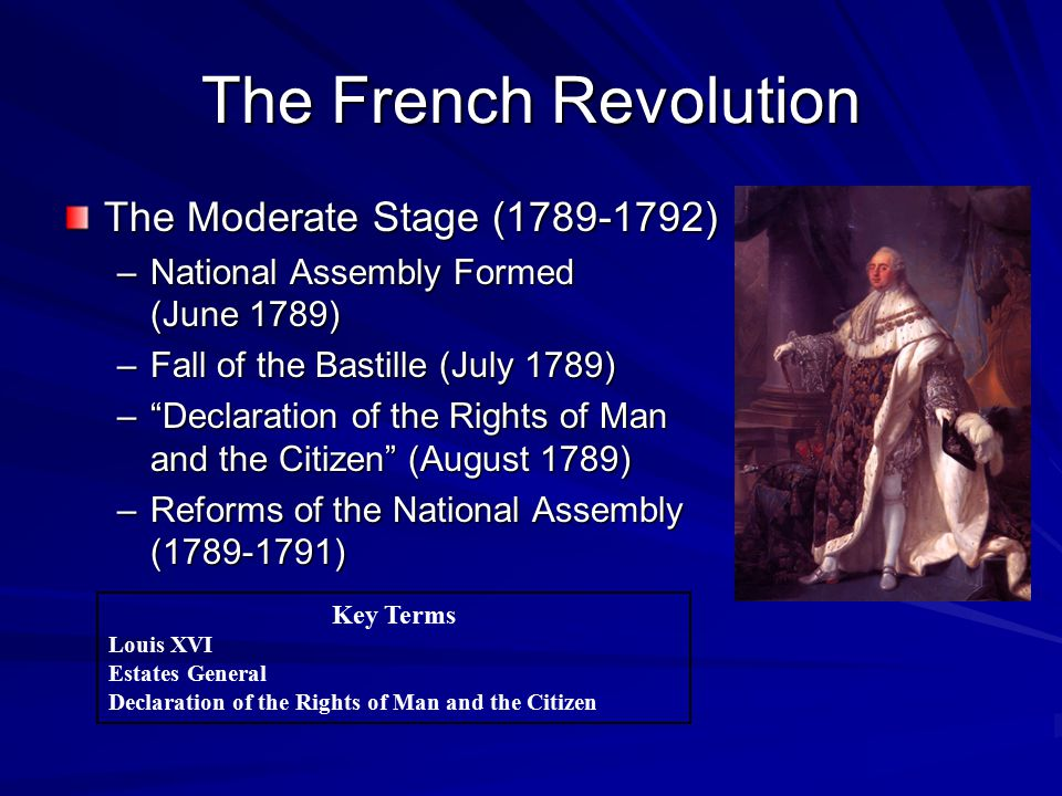 """The French Revolution The Moderate Stage (1789-1792) –National Assembly Formed (June 1789) –Fall of the Bastille (July 1789) –""""Declaration of the Righ"""