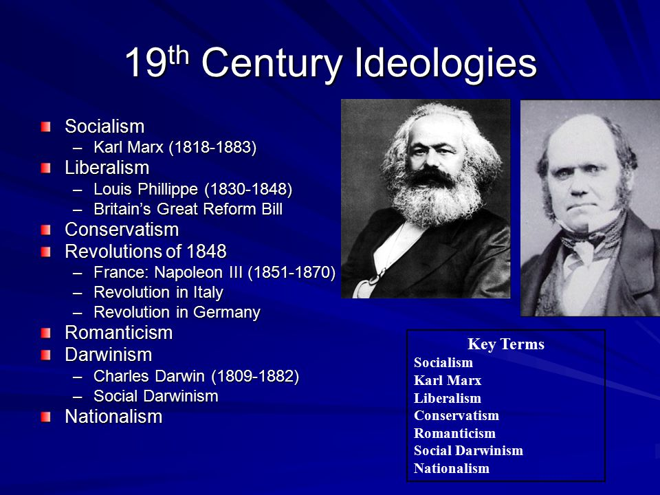 19 th Century Ideologies Socialism –Karl Marx (1818-1883) Liberalism –Louis Phillippe (1830-1848) –Britain's Great Reform Bill Conservatism Revolutions of 1848 –France: Napoleon III (1851-1870) –Revolution in Italy –Revolution in Germany RomanticismDarwinism –Charles Darwin (1809-1882) –Social Darwinism Nationalism Key Terms Socialism Karl Marx Liberalism Conservatism Romanticism Social Darwinism Nationalism