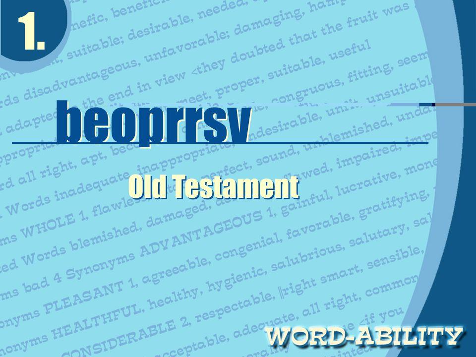 1. beoprrsv beoprrsv Old Testament