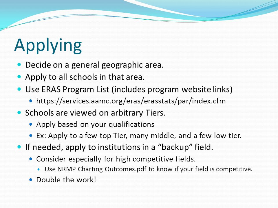 Applying Decide on a general geographic area. Apply to all schools in that area.