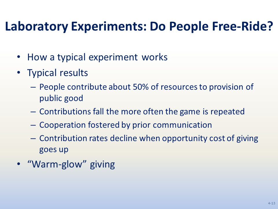 Laboratory Experiments: Do People Free-Ride.