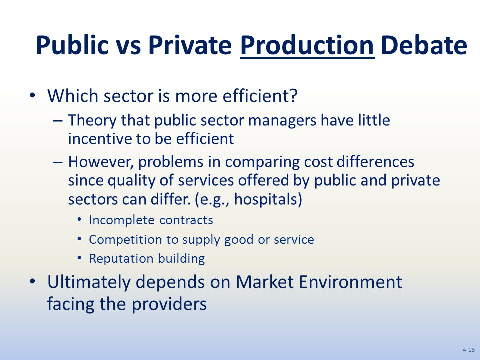 Public vs Private Production Debate Which sector is more efficient.