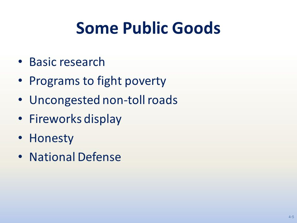 Some Public Goods Basic research Programs to fight poverty Uncongested non-toll roads Fireworks display Honesty National Defense 4-5