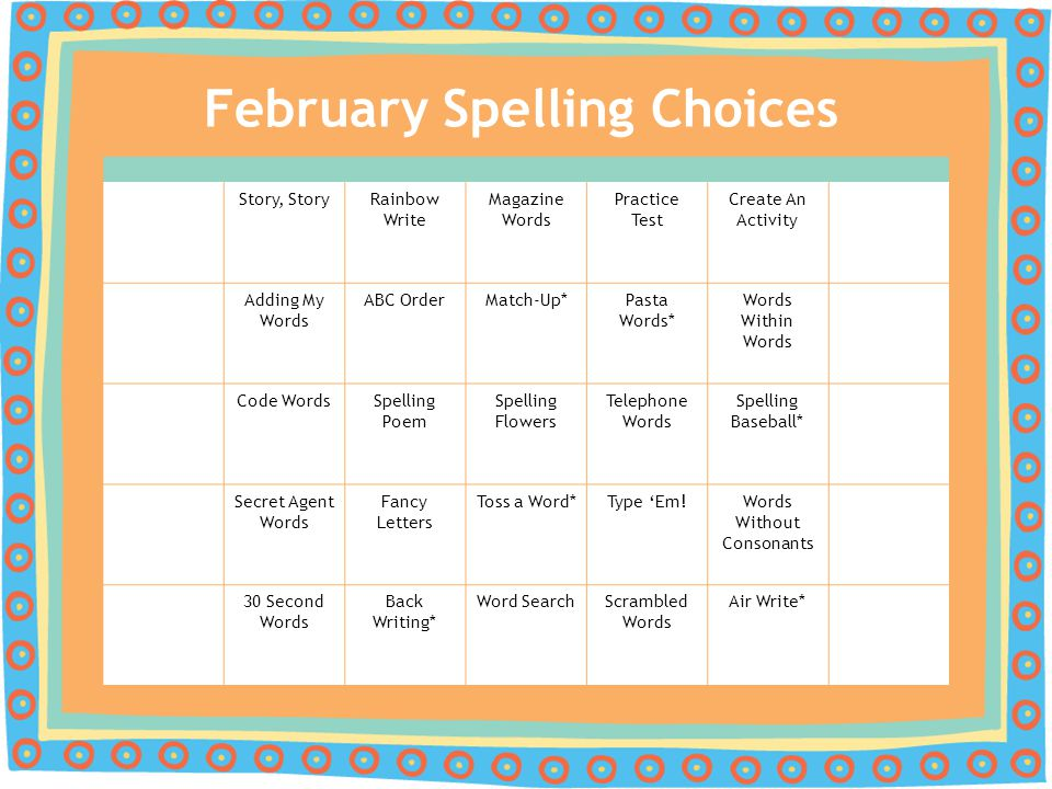 February Spelling Choices Story, StoryRainbow Write Magazine Words Practice Test Create An Activity Adding My Words ABC OrderMatch-Up*Pasta Words* Wor
