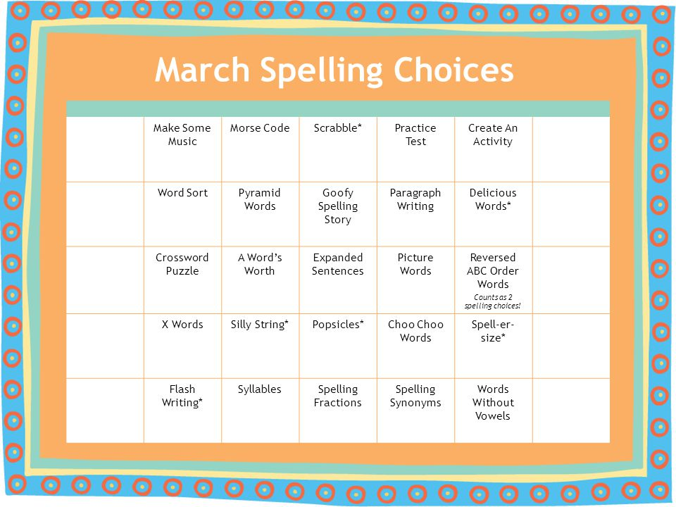 March Spelling Choices Make Some Music Morse CodeScrabble*Practice Test Create An Activity Word SortPyramid Words Goofy Spelling Story Paragraph Writi