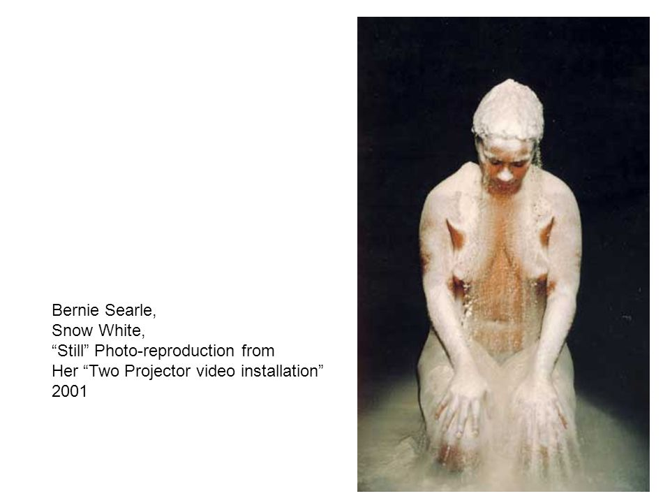 "Bernie Searle, Snow White, ""Still"" Photo-reproduction from Her ""Two Projector video installation"" 2001"