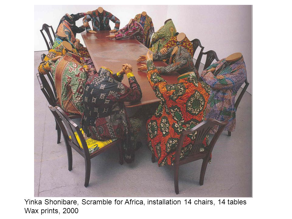 Yinka Shonibare, Scramble for Africa, installation 14 chairs, 14 tables Wax prints, 2000