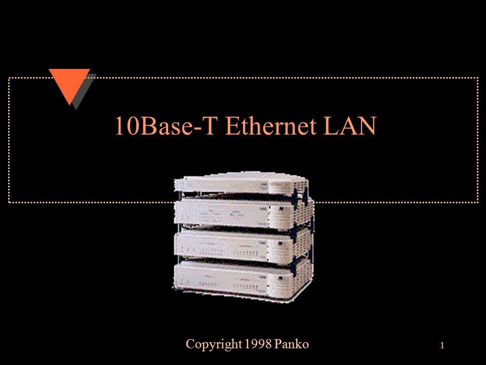12 Simple LAN Using Ethernet 10Base-T RJ-45 jacks 10Base-T Hub (Multiport Repeater) Unshielded Twisted Pair (UTP) Wiring (4-Pair Bundle) PC RJ-45 Jack NIC Network Interface Card 10Base-T UTP Wiring Bundles: 4 Pairs EIA Category 3, 4, or 5