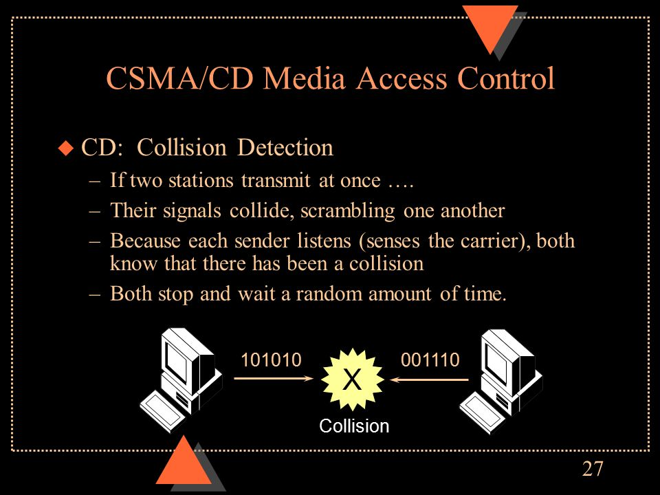 27 CSMA/CD Media Access Control u CD: Collision Detection –If two stations transmit at once ….