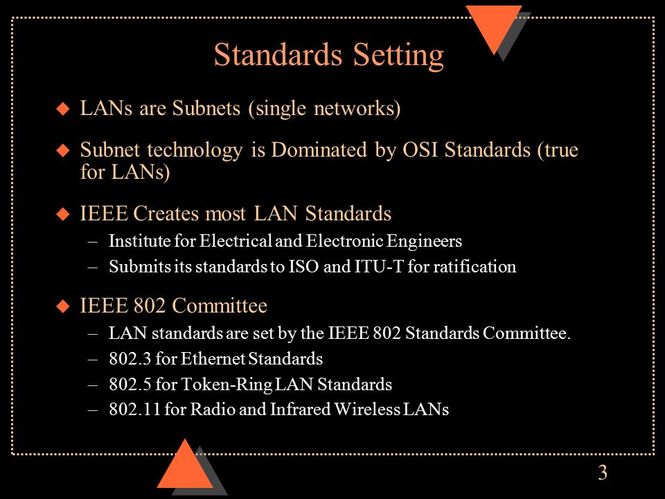 3 Standards Setting u LANs are Subnets (single networks) u Subnet technology is Dominated by OSI Standards (true for LANs) u IEEE Creates most LAN Standards –Institute for Electrical and Electronic Engineers –Submits its standards to ISO and ITU-T for ratification u IEEE 802 Committee –LAN standards are set by the IEEE 802 Standards Committee.