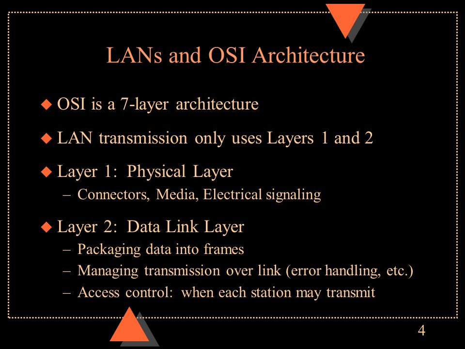 4 LANs and OSI Architecture u OSI is a 7-layer architecture u LAN transmission only uses Layers 1 and 2 u Layer 1: Physical Layer –Connectors, Media, Electrical signaling u Layer 2: Data Link Layer –Packaging data into frames –Managing transmission over link (error handling, etc.) –Access control: when each station may transmit