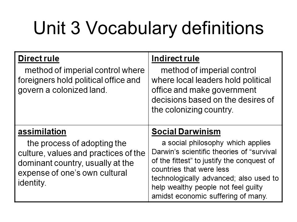 Unit 3 Vocabulary definitions Direct rule method of imperial control where foreigners hold political office and govern a colonized land.