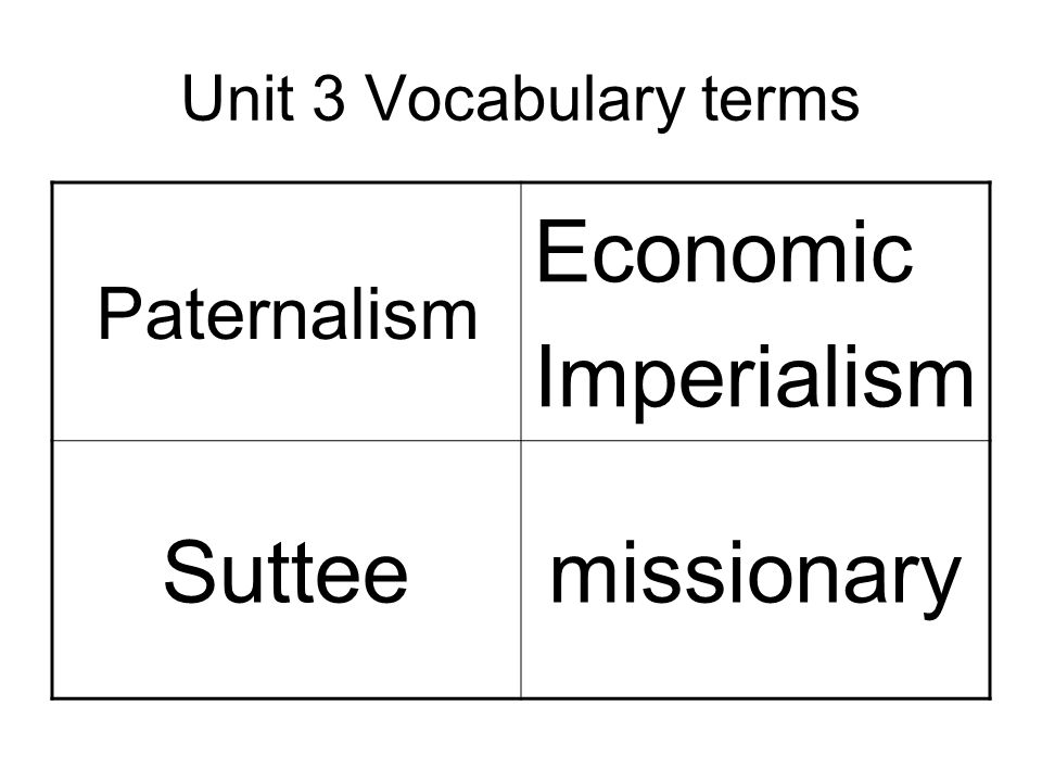 Unit 3 Vocabulary terms Paternalism Economic Imperialism Sutteemissionary