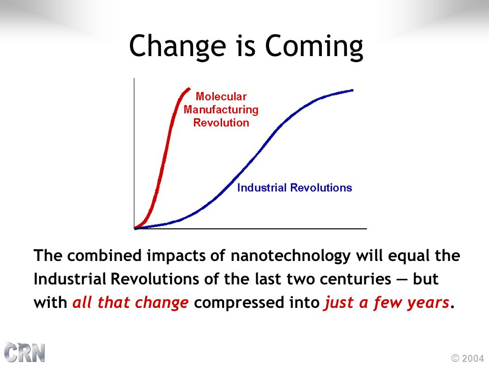 © 2004 The combined impacts of nanotechnology will equal the Industrial Revolutions of the last two centuries — but with all that change compressed into just a few years.