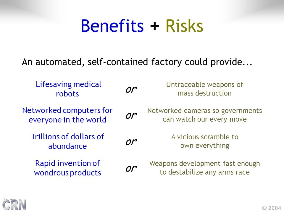 © 2004 Benefits + Risks An automated, self-contained factory could provide...