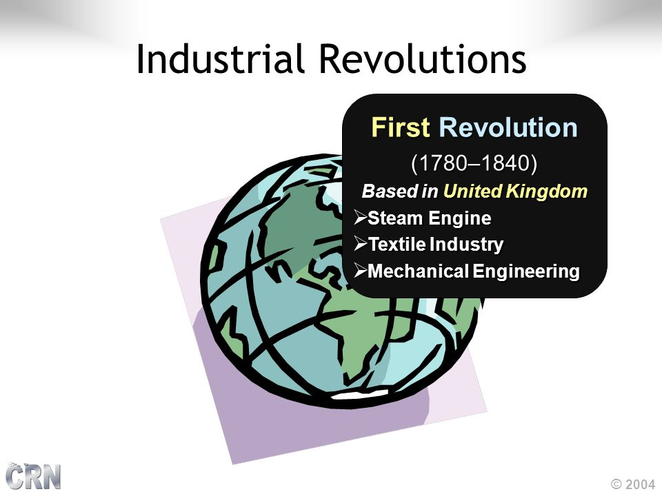 © 2004 Industrial Revolutions FirstRevolution First Revolution(1780–1840) Based in United Kingdom  Steam Engine  Textile Industry  Mechanical Engin