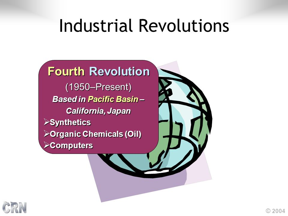 © 2004 Industrial Revolutions FourthRevolution Fourth Revolution(1950–Present) Based in Pacific Basin – California, Japan  Synthetics  Organic Chemi