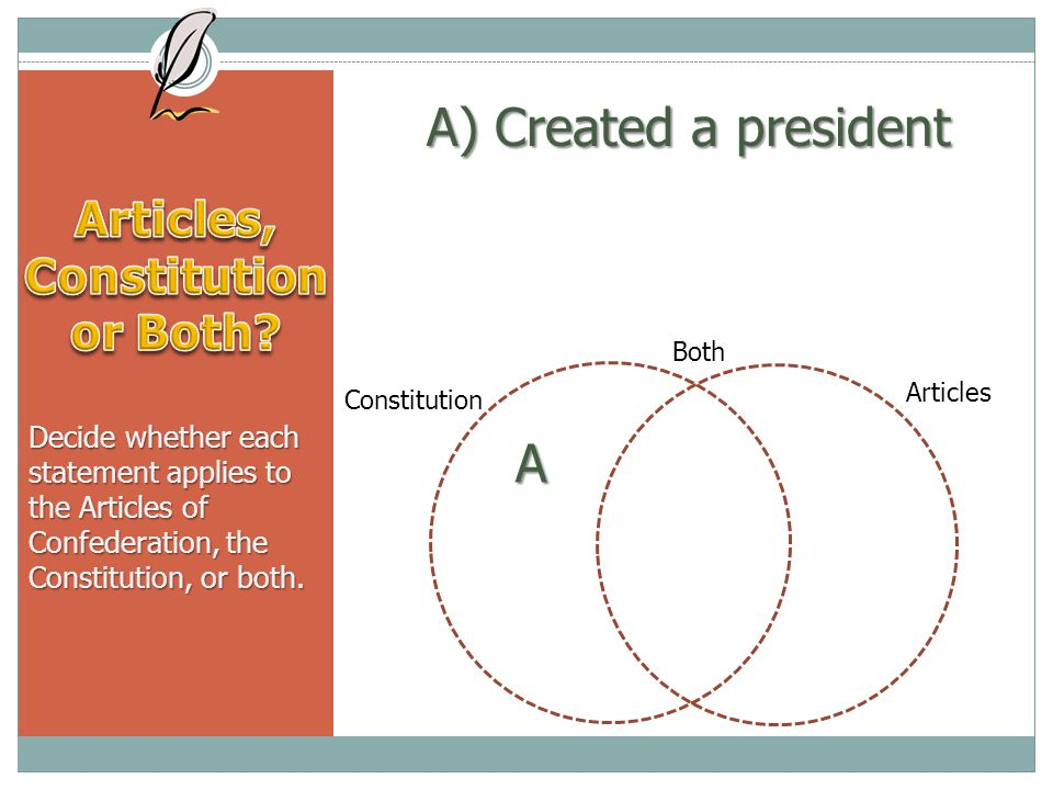 A) Created a president Decide whether each statement applies to the Articles of Confederation, the Constitution, or both.
