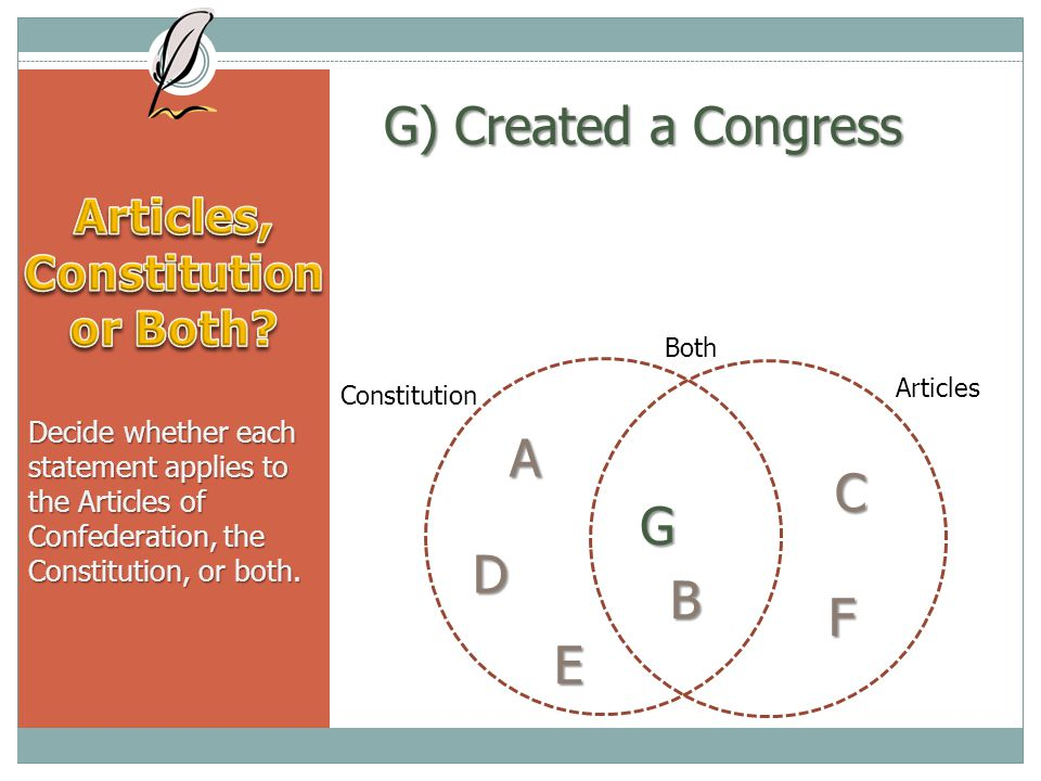 G) Created a Congress Decide whether each statement applies to the Articles of Confederation, the Constitution, or both.