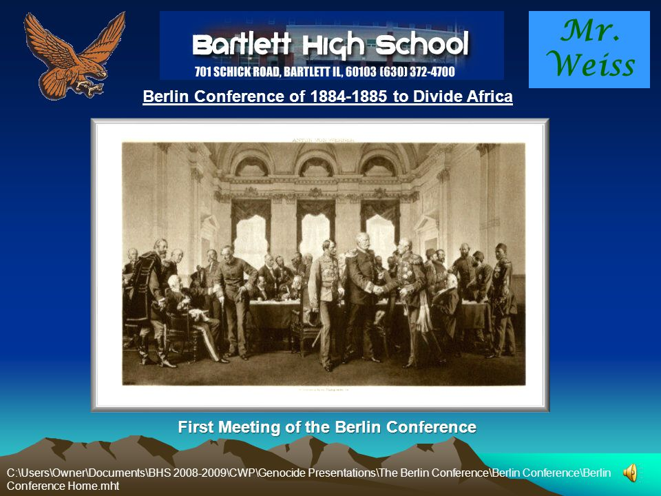 Mr. Weiss Berlin Conference of 1884-1885 to Divide Africa Why is Africa so poor? Why is AID's such a big problem in Africa? Why is hunger such a big p