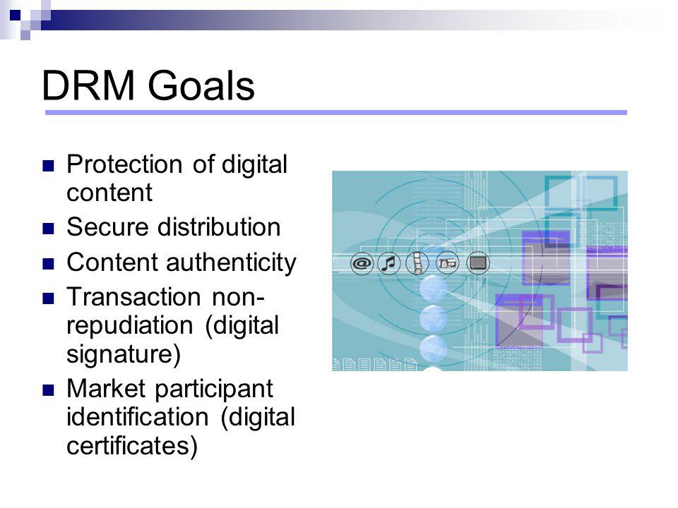 DRM Goals Protection of digital content Secure distribution Content authenticity Transaction non- repudiation (digital signature) Market participant i