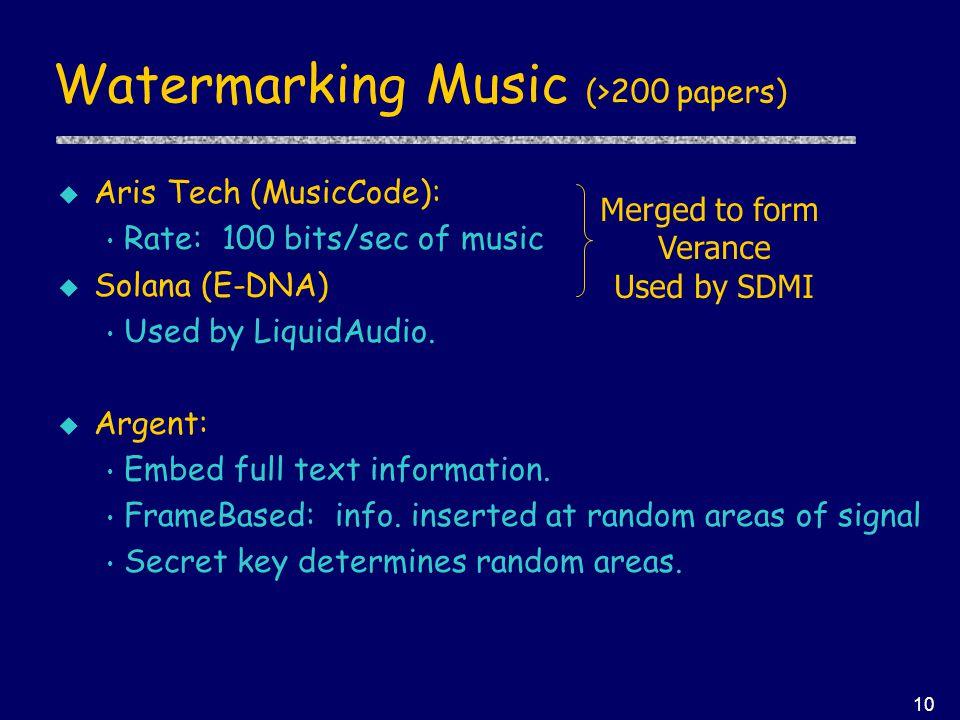 10 Watermarking Music (>200 papers) u Aris Tech (MusicCode): Rate: 100 bits/sec of music u Solana (E-DNA) Used by LiquidAudio.