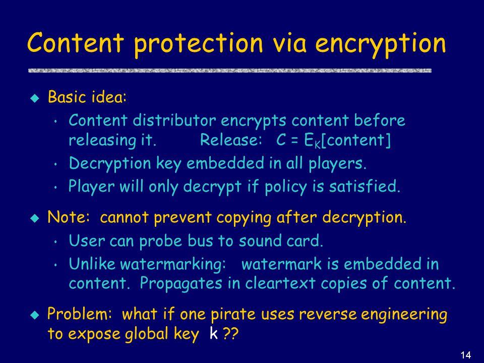 14 Content protection via encryption u Basic idea: Content distributor encrypts content before releasing it.