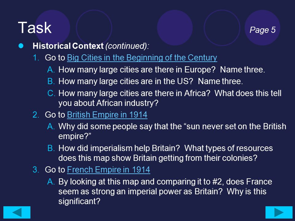Task Page 5 Historical Context (continued): 1.Go to Big Cities in the Beginning of the CenturyBig Cities in the Beginning of the Century A.How many la