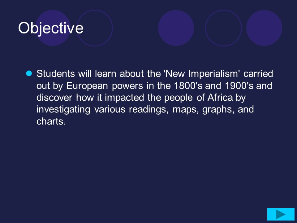 Objective Students will learn about the 'New Imperialism' carried out by European powers in the 1800's and 1900's and discover how it impacted the peo