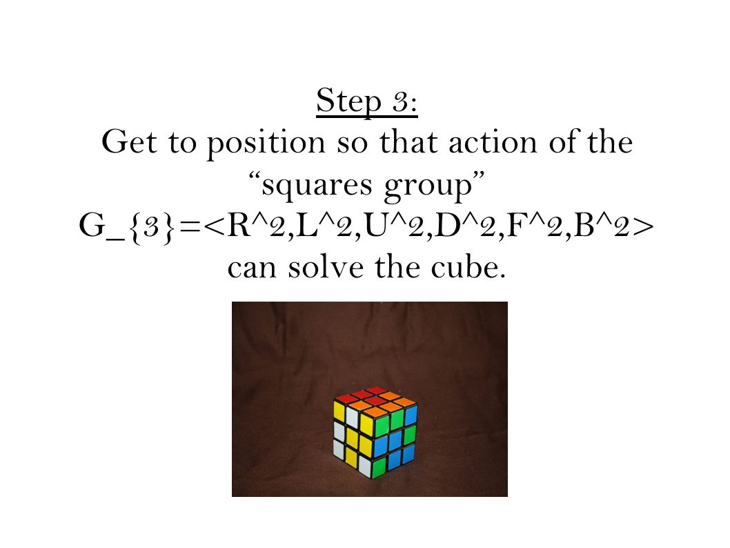 Step 3: Get to position so that action of the squares group G_{3}= can solve the cube.